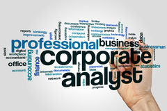 Corporate analyst word cloud concept on grey background.  stock photography
