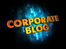 Corporate Blog Concept on Digital Background. Corporate Blog Concept - Golden Color Text on Dark Blue Digital Background Royalty Free Stock Image