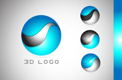 Corporate blue 3d sphere sign logo icon design Royalty Free Stock Photos