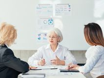 Corporate board senior ceo business executives aim. Corporate board. Senior company CEO talking business with executives. Primary aim effective strategy stock image