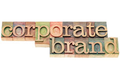 Corporate brand in wood type Stock Photo
