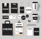 Corporate branding identity for coffee shop and restaurant mock up. Template with coffee logo design royalty free illustration