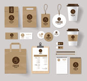 Corporate branding identity mock up template for coffee shop. And restaurant. with card, menu, packaging, vector royalty free illustration