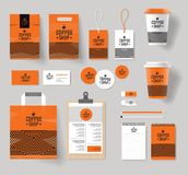 Corporate branding identity mock up template for coffee shop and restaurant. With card, menu, packaging,vector for editable stock illustration