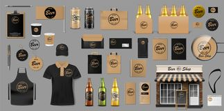 Corporate Branding identity template design for beer shop. Brewery elements for your Beer Pub or Bar. Realistic mockup stock photos