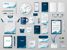 Corporate Branding identity template design. Modern Stationery mockup for shop with modern blue structure. Business. Style stationery and documentation. Vector stock illustration