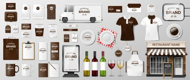 Corporate Branding identity template design for restaurant Coffee, Cafe, Fast food. Realistic set of uniform, delivery stock image