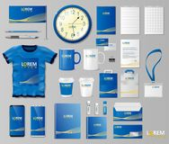 Corporate Branding identity template design. Stationery mockup for shop with modern blue structure. Business style. Stationery and documentation. Vector stock illustration