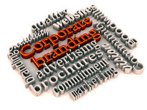 Corporate branding tools. Words showing corporate branding tools like advertising websites marketing etc stock illustration