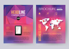 Corporate brochure business geometric design. Templates with mobile technologies, world map and infographic services concept. Modern back and front flyer stock illustration