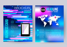 Corporate brochure business geometric design. Templates with mobile technologies, world map and infographic services concept. Modern back and front flyer vector illustration