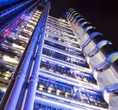 Corporate building. Night time view of the Lloyds Building in the City of London Royalty Free Stock Photos