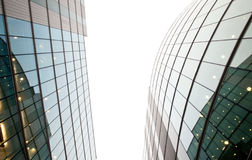 Corporate building perspective. Looking up through the tall block of stylish modern office buildings Stock Image