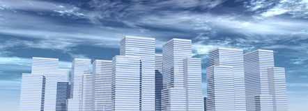 Corporate buildings 06. Rendered corporate buildings with sky royalty free illustration