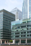 Corporate buildings. Modern corporate buildings in London's Canary Wharf on a bright sunny day Royalty Free Stock Photography