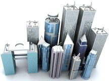 Corporate buildings 3d rom a high angle vector illustration