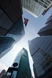 Corporate buildings in Manhattan. Low-angle view of corporate buildings - New York City, USA Royalty Free Stock Photography