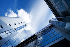Corporate buildings in perspective. To sky royalty free stock images