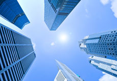 Corporate buildings in perspective. And blue sky Royalty Free Stock Photos