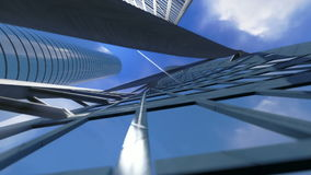 Corporate buildings and time lapse clouds, architectural view, stock footage Stock Photos