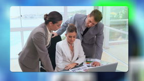 Corporate business cooperation with an Earth image courtesy of Nasa.org stock footage