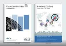 Corporate business cover book design template with infographic. stock illustration