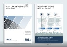 Corporate business cover book design template with infographic. Corporate business cover book design template with infographic, Use for annual report, brochure Stock Image