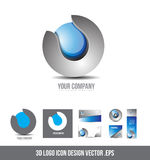 Corporate business 3d logo sphere grey blue design stock illustration