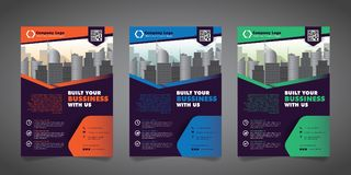 Corporate Business Flyer Design Template with 3 Various Options.  Vector Illustration. Royalty Free Stock Image