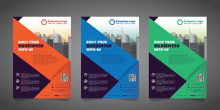 Corporate Business Flyer Design Template with 3 Various Options.  Vector Illustration. Stock Image