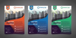 Corporate Business Flyer Design Template with 3 Various Options.  Vector Illustration. Royalty Free Stock Photography
