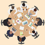 Corporate Business management teamwork meeting and brainstorming concept. Round table in top point of view Stock Image