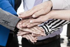 Corporate business, stack of hands, Concept of unity and teamwork. royalty free stock images