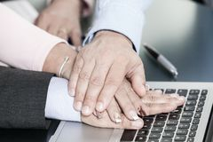 Corporate business, stack of hands, Concept of unity and teamwork. royalty free stock photos