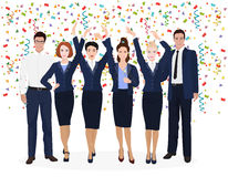 Corporate Business Team Enjoying Success and celebrate new developments. Confetti on the alpha white backgroud. Stock Photography