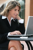Corporate, Business Woman with Laptop Outdoors Stock Images