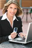 Corporate, Business Woman with Laptop Outdoors Royalty Free Stock Photos