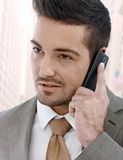 Businessman on the phone outdoor Royalty Free Stock Photo