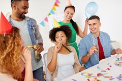Happy team having fun at office party Royalty Free Stock Images