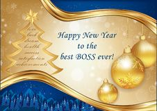 Corporate Christmas and New Year greeting card for the boss. Blue and golden corporate greeting card for the boss: Happy New Year to the best boss ever royalty free illustration