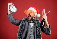 Corporate christmas party. Lets celebrate winter holiday. Boss santa hat celebrate new year or christmas. Christmas. Party invitation. Join christmas stock image