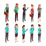 Corporate clothes isometric illustration. Standing people in random dress and corporate. Woman and man staff standing vector Stock Photos