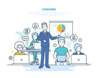 Corporate coaching, training, teaching business people, business learning, online education. Corporate coaching, training, teaching business people, business vector illustration