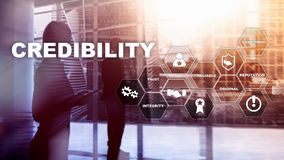 Corporate credibility improvement concept. Multiple exposure, mixed media background.  royalty free stock photo