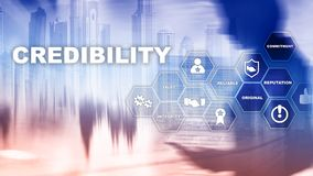 Corporate credibility improvement concept. Multiple exposure, mixed media background. royalty free stock photos