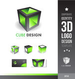 Corporate cube grey green 3d logo Royalty Free Stock Photo