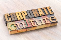 Corporate culture word abstract in wood type. Corporate culture word abstract in letterpress wood type printing blocks stock image