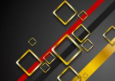 Corporate dark brochure design with golden squares Royalty Free Stock Photos