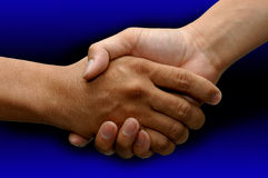 Corporate Deal. Business handshake over a bule background royalty free stock photography