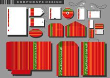 Corporate design with red stripes vector. Corporate design templates with red and green stripes vector Stock Image